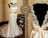 Lace Wedding Dress Features Illusion Deep V-Cut Neckline and Key Hole Open Back with Scalloped Edges. $299.00, via Etsy.