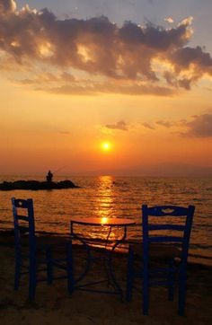 Sunset in Thassos , Greece