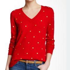 Women's sweater Women's gold polka dot sweater J. Crew Sweaters V-Necks