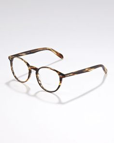Get on mah face!  Elins Round Fashion Glasses, Cocobolo by Oliver Peoples at Neiman Marcus.