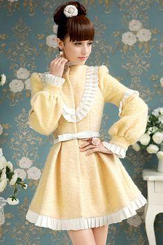New Style Turtleneck Long Sleeve Single Breasted Yellow Wool Coat - Dress2015.com