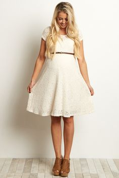 Ivory-Lace-Belted-Dress