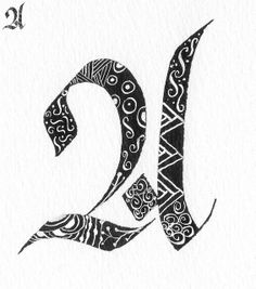 Letter A Calligraphy (http://www.flickr.com/photos/carmelscribe/page3/)