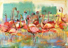 Flamingo painting, Giclee Canvas Print, Painting print, Modern Animal artwork, Flamingo wall art print, Birds Wall decor, Colorful print by IvMarART on Etsy https://www.etsy.com/listing/264170467/flamingo-painting-giclee-canvas-print