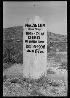 Tombstone in Boot Hill Cemetery, Tombstone, Arizona.  Chinese merchant and brothel owner