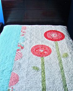 May Flowers Quilt-by Becky McGrath--This quilt would be adorable for a little girl or as a showcase throw blanket. 62″x72″ quilt
