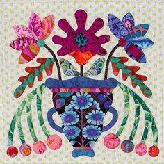 block # 4 Quilt Block Patterns, Applique Patterns, Applique Designs, Caswell Quilt, Aplique Quilts, Landscape Art Quilts, Yarn Flowers, Flower Quilts, Colorful Quilts