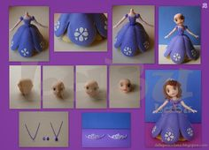 "LaBu: "" Paso a Paso: Princesa Sofía"" Polymer Clay Ornaments, Polymer Clay Projects, Fondant Figures, Diy Party Decorations, Party Themes, Princess Sofia Cake, Cute Crafts, Diy And Crafts, Sofia The First Cake"