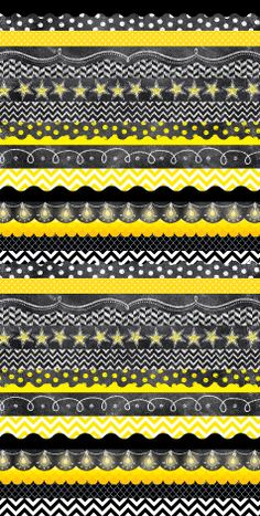 Our marketing department graphic designer had a little bit of fun layering borders to create this black, white, and yellow image! Check out that chalk, chevron, pattern, stars, and more! SOOOO much fun :)