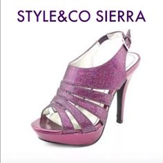 """Women's Style & Co Plum Glitter platform Heel NEW Style&co Sierra Type of Shoe Strappy-Slingback-High-Heels! Size: 5.5 M & 8.5 M Material of Shoe: Synthetic Color: Plum Glitter Special Features Slingback, Straps, 4"""" Heel Will not ship in original box.  Condition: New and unworn  THESE STYLISH PAIR  OF HEELS ARE PLUM IN COLOR. PEEPTOE HEELS THAT HAVE STRAPS ON UPPER.ADJUSTABLE ANKLE STRAP WITH BUCKLE. THESE SHOES ARE PLUM WITH GOLD THROUGHOUT. HEEL IS APPROXIMATELY 4 1/2"""" AND PLATFORM IS 1""""…"""