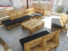 furniture: Awesome Rooftop Patio With Wooden Table Plus Sofa And Wheeled Chairs Of Balcony Furniture Set - Convenient Balcony Furniture Set with Elegant Exterior Designs, Luxury Busla: Home Decorating Ideas and Interior Design
