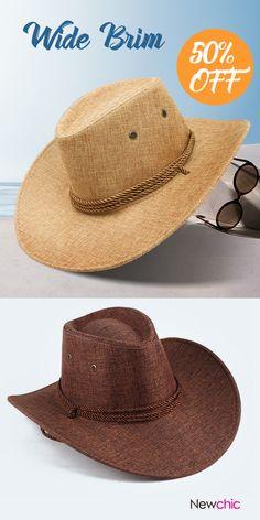 Mens Linen Wide Brim Western Cowboy Jazz Hat Sunscreen Sunshade Panama Caps  Fedoras Hat is hot sale on Newchic. c8e1ffecd2c