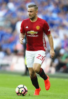 Luke Shaw of Manchester United in action during The FA Community Shield match between Leicester City and Manchester United at…