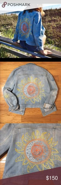 Live by the Sun Hand Embroidered Jean Jacket Hand embroidered, hand dyed, and hand distressed custom jean jacket. Sun and moon details on the elbows and wave detail on the front. The back center has a combined embroidered sun and moon. Offers welcome. Follow our Instagram @meraki.bk for more or check out our website https://merakibybk.patternbyetsy.com/ meraki.bk Jackets & Coats Jean Jackets