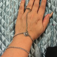 Hand/ring chain Hand/ring chain, bracelet adjustable clasp, silver Jewelry Bracelets
