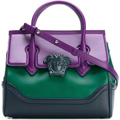 Versace Palazzo Empire bag ($1,944) ❤ liked on Polyvore featuring bags, handbags, shoulder bags, green, genuine leather handbags, versace handbags, versace purses, purple leather handbag and purple leather purse