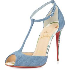 Christian Louboutin Senora Denim 100mm Red Sole Sandal (3.120 BRL) ❤ liked on Polyvore featuring shoes, sandals, louboutin, heels, heeled sandals, blue high heel sandals, blue heeled sandals, white heeled sandals and denim sandals