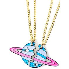 Band of Weirdos On Another Planet Bestie Necklaces ($30) ❤ liked on Polyvore featuring jewelry, necklaces, chains jewelry, chain necklace, galaxy necklace, planet necklace and cosmic jewelry