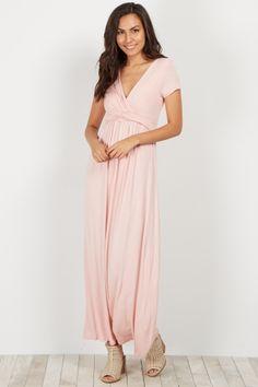 Pink Draped Maxi Dress