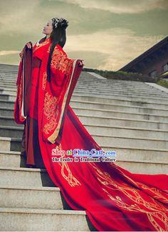 Traditional Chinese Hanfu Phoenix Wedding Dress for Brides