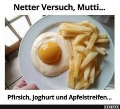 Eggs and French fries? Yogurt, a canned peach, and apple slices. Awesome And Easy Pranks To Get You Ready For April Fools' Day pics) Huevos Fritos, Gula, Apple Slices, Snacks, Food Humor, The Fool, Chefs, Kids Meals, The Best