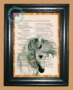 White Horse with Little Yellow Flowers in her Mane - - Vintage Dictionary Book Page Art-Upcycled Page Art,Wall Art,Collage Art - Horse Print by CocoPuffsArt on Etsy