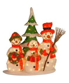 Take a look at this White Tinsel Snowman Family 31'' Lighted Decoration by National Tree Company on #zulily today!170