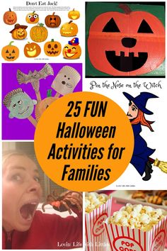 Whether we're celebrating at home or planning a group or class party, these 25 Halloween activities for families are perfect for making Halloween a blast for our kids! There is variety from active Halloween games to Halloween crafts and free Halloween printables. #halloweenactivitiesforfamilies #halloweenactivitiesforkids #halloweengames #activehalloweengames #freehalloweenprintables #halloweenbingo #halloween2020 #pinthenoseonthewitch #pumpkinbowling #donteatjack…