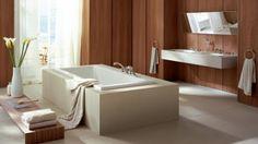 modern bath with cedar accents