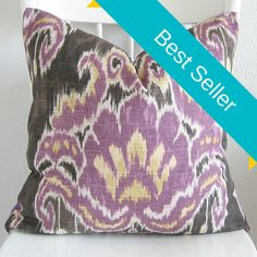 ONE pillow cover. We used a home decor Home Accents Marreskesh Ikat fabric in dusk. Content: 100% cotton. Colors: dark brown, purple, and