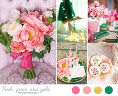 emerald green, pink and gold wedding inspiration