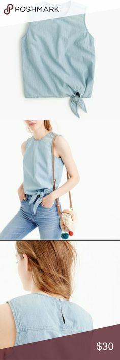 J.Crew cambray tie waist top size 12p nwt JCrew women's tie waist blue 100% cotton top size 12 petite new with tags  MSRP $60  armpit to armpit measures 21 in  M18 J. Crew Tops Tank Tops