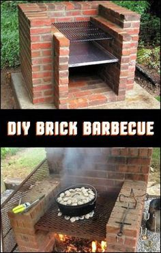 Easy to build and use, low-maintenance and long-lasting - these are the things w.- Easy to build and use, low-maintenance and long-lasting – these are the things we love about this brick barbecue! Do you want to build one in your backyard? Backyard Kitchen, Fire Pit Backyard, Outdoor Kitchen Design, Backyard Bbq, Backyard Landscaping, Landscaping Ideas, Pit Bbq, Outdoor Oven, Outdoor Cooking