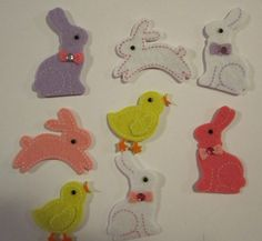 Easter Bunnies and Chicks felt stickers by kayboxfive on Etsy, $1.99