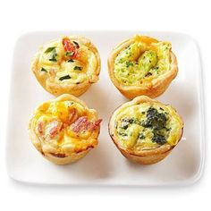 Any-Flavor MIni Quiche. unbaked pie crust, 2 eggs,  2/3 cup milk  1/4 teaspoon salt, 1/4 teaspoon freshly ground pepper  1/4 cup finely chopped green onion (optional)  1/4-1/2 cup finely grated or crumbled cheese of your choice  1/2-1 cup finely chopped or crumbled cooked vegetable or meat of your choice