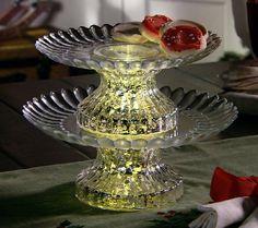 2-Tier Illuminated Mercury Glass Serving Platter by Valerie