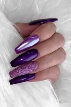 Purple Chrome Nails, Purple Acrylic Nails, Purple Nail Art, Purple Nail Designs, Pretty Nail Art, Nail Art Designs, Nails Design, Acrylic Nails Chrome, Nails Turquoise