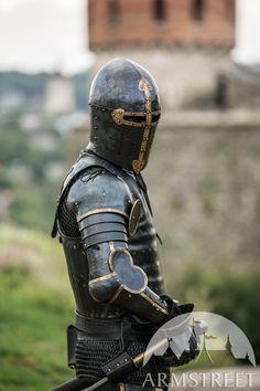 ArmStreet - The Wayward Knight - XIV century style - Medieval store Medieval Knight, Medieval Armor, Medieval Fantasy, Tattoo Manche, Medieval Helmets, Knights Helmet, Armadura Medieval, Airsoft Helmet, Knight Art