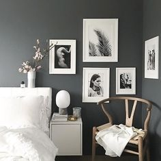 A grey and white bed