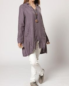 Asymmetric Linen hem split long Coat shirt