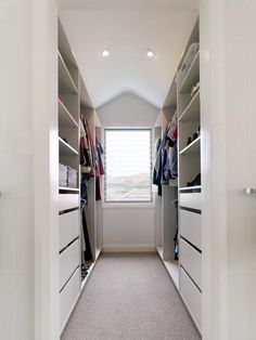 Closet shelving ideas closet contemporary with narrow closet walk in wardrobe walk-in closet dormer window master bedroom open shelving open shelves Walk In Closet Small, Walk In Closet Design, Closet Designs, Tiny Closet, Master Bedroom Closet, Bedroom Wardrobe, Wardrobe Closet, White Wardrobe, Narrow Bedroom