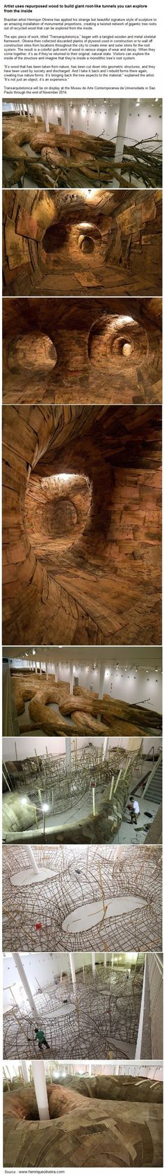 Artist uses repurposed wood to build giant root-like tunnels you can explore from the inside Just Amazing, Amazing Art, Awesome, Sculpture Art, Sculptures, Cool Wood Projects, Small House Decorating, Repurposed Wood, Wood Cutting