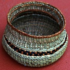 Peggy Wilcox |  Cullasaga Basket - light.  Cedar bark, Bulrush, Maiden hair fern, & Kudzu fiber