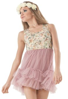 Weissman™ | Lace Ruffle Hem Tulle Skirt Dress