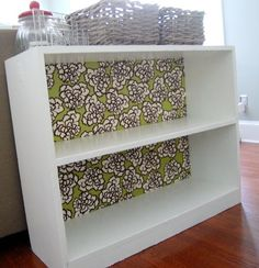 DIY to existing bookshelves--gonna do this to the one with the kids books on it. Gotta repaint it and secure the back anyways, so might as well make it pretty, right?!