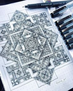 Varied Collection of Mandala Drawings. Click the image, for more art by Sine Hagestad. Easy Mandala Drawing, Simple Mandala, Mandala Art Lesson, Mandala Artwork, Mandala Painting, Zentangle Drawings, Zentangle Patterns, Mandala Pattern, Land Art