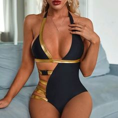 Backless One Piece Swimsuit, Bathing Suits One Piece, Black Swimsuit, One Piece Swimwear, Womens Bodysuit, Suit Fashion, Women Swimsuits, Bikinis, Bikini Swimwear