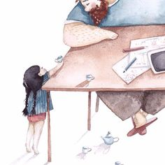 and baby ilustration (notitle) Daddy Daughter Photos, Father Daughter Relationship, Dad Daughter, Family Illustration, Illustration Art, Cute Images, Cute Pictures, Watercolor Drawing, Mother And Child