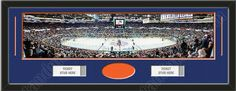 One framed large New York Islanders stadium panoramic with openings for one or two ticket stubs* and one or two 4 x 6 inch personal photos**, double matted in team colors to 39 x 13.5 in.  The lines show the bottom mat color. $179.99   @ ArtandMore.com