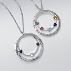 Another beautiful idea for Mother's Day. Birthstones on one loop and names on the next.
